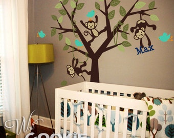 Monkeys Tree with Custom Name - Nursery Wall Decal