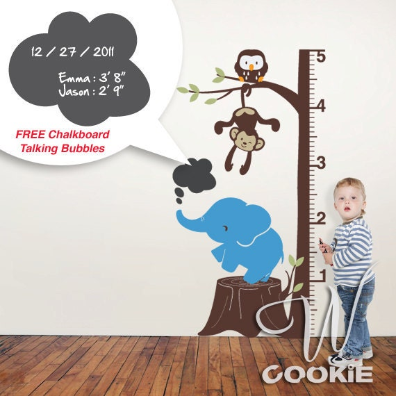 Safari Growth Chart with Free Chalkboard  - Wall Decal