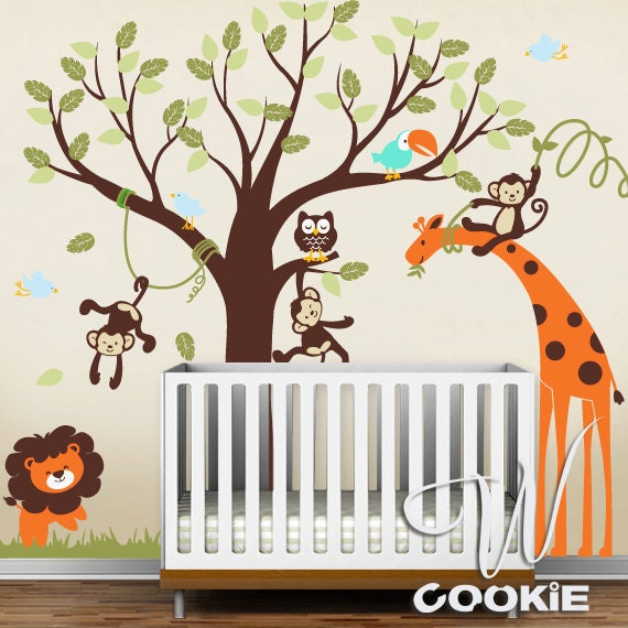 Jungle Wall Decor Stickers : Wall decal safari land nursery by wcookie on etsy