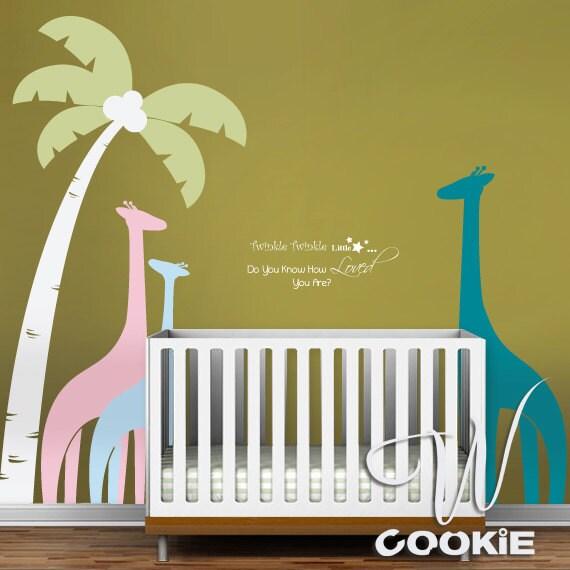 Palm Tree and Giraffes - Nursery, Kids Wall Decal
