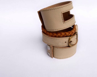 SERENE. Leather cuff set with plait / braid / bracelet. Available in different leather colors.