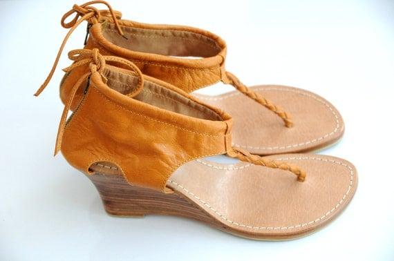 SALE 25% OFF. Size us 6, eur 36,5. APHRODITE Leather wedges / sandals / shoes