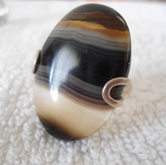 Sterling Silver stone Ring -  Agate ring -  Sterling silver jewelry - Handmade jewelry - Natural stone - Size 8