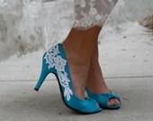 Blue Wedding Shoes With Venise Lace Applique. Size 6