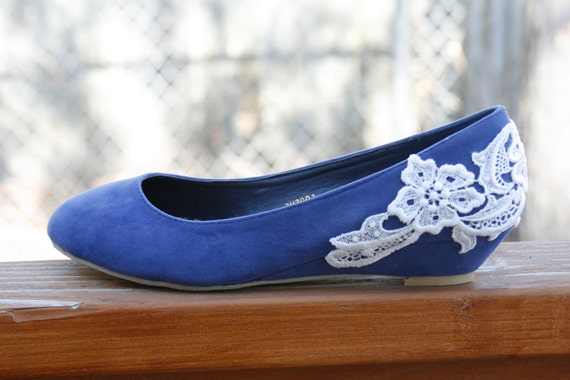 Wedding Shoes - Blue flat/low wedge, wedding shoes with Ivory lace. US Size 6.