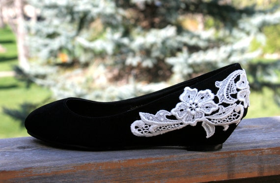 Reserved for April - Black ballet flat/low wedge heel with venise lace applique. size 7.