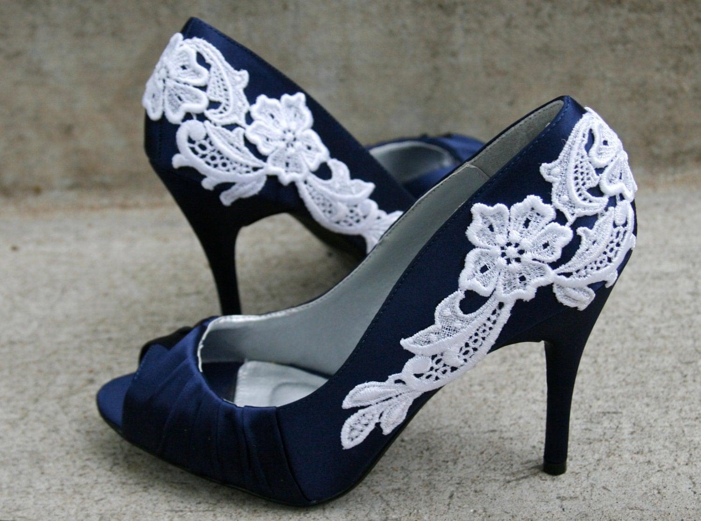 Navy Blue Wedding Shoes With Venise Lace Applique. Size 10