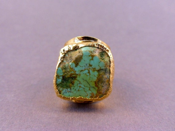 Raw Turquoise Ring with 24k gold adjustable