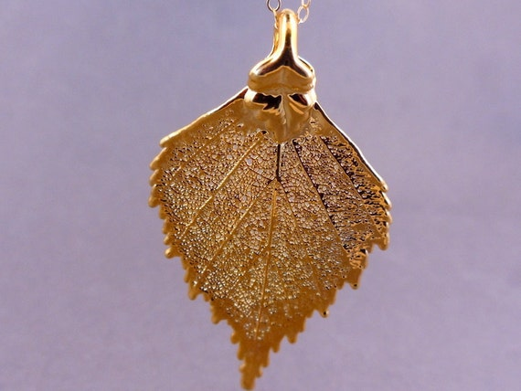 Petit Birch Real Leaf Necklace - 24k gold dipped leaves - Fashion 2012