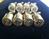 Bullet cuff links  wedding set of 4 groomsman set gift 7mm Remington MAG gold tone backings deer hunting rifle gun cufflinks grooms gift