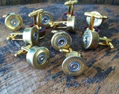 Wedding cufflinks shotgun set 6 pair groomsman set gift 28 gauge gold tone handmade handcrafted cuff links grooms men
