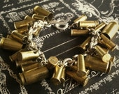 Bullet charm bracelet  Sterling Silver 9mm 22 40 cal chain gun handmade upcycled recycled cowboy wedding camo