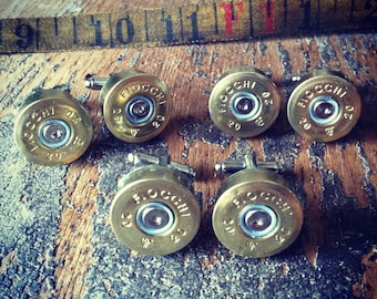 Wedding cufflinks Shotgun 20 gauge set 3 pair groomsmen wedding special gold tone handmade handcrafted cuff links grooms men
