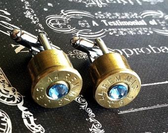 Bullet cufflinks Desert Eagle 44 mag Light Blue Swarovski Aquamarine crystal silver backings handgun cuff link gift wedding cuff links men