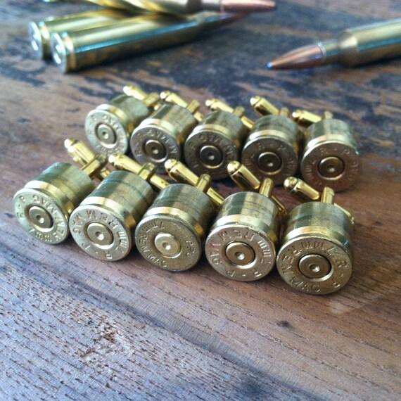 Bullet cuff links  wedding set of (5 pair) groomsman gift 7mm Remington MAG gold tone backings deer hunting rifle gun cufflinks grooms gift