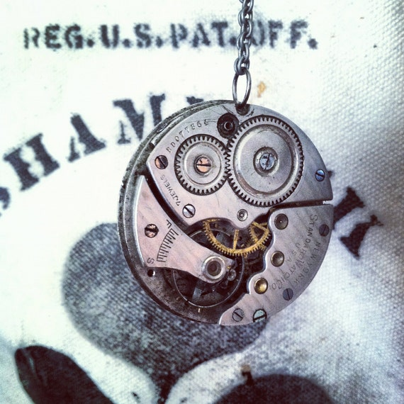 Steampunk Necklace antique silver pocket watch Reversable movement handmade handcrafted upcycled vintage jewelry earth day