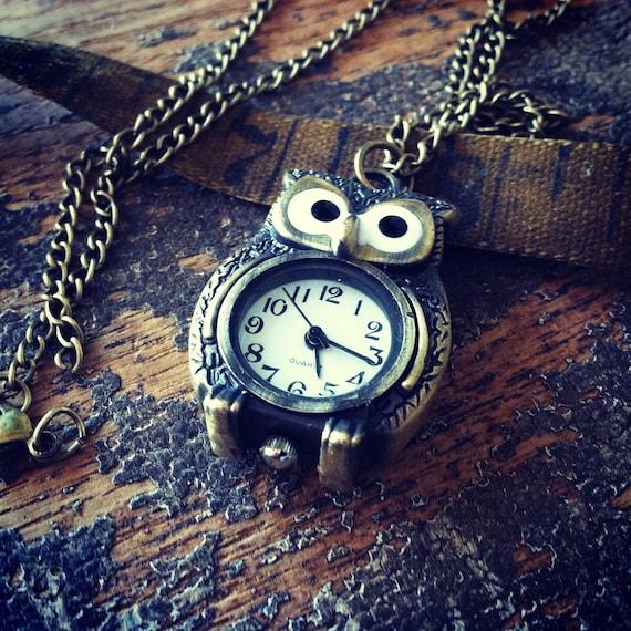 Steampunk necklace owl pocket watch unique antique vintage steam punk dieselpunk jewelry