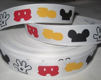 """7/8"""" Ribbon by the yard-MOUSE HEAD Mickey Parts White Grosgrain Disney Mickey Hair bows scrapping WHolesale by Ribbon Lane Supplies"""
