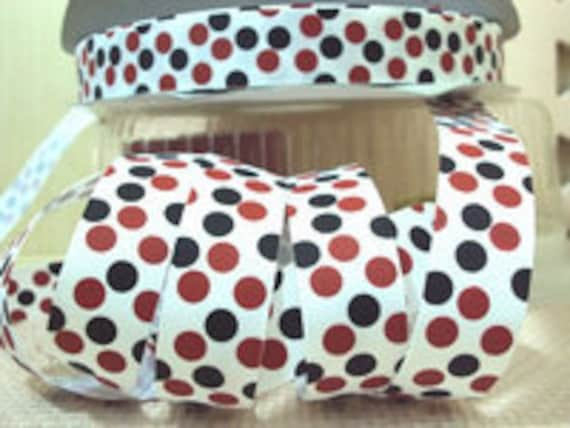 Ribbon by the Yard 7/8 Red Black Polka dot Mickey Minnie Disney White Grosgrain Ribbon-Bows sewing by Ribbon Lane Supplies on Etsy
