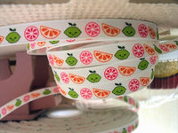 Ribbon by the Yard 3/8 M2MG Citrus Cooler- Summertime Lemon Lime PInk Orange-Hair bows scrapping WHolesale by Ribbon Lane Supplies