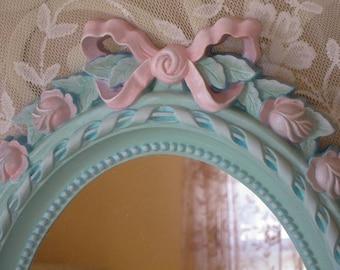 Vintage Aqua Mirror - Roses Mirror - Wall Mirror - Nursery Mirror - Hand Painted Mirror - Girl's Room - Princess Mirror