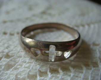 Cross and Heart Silver Ring
