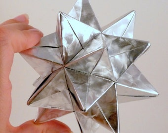 Medium Christmas Star, Christmas Ornament, Silver Star Ornament, Origami Star, Origami Ornament, Silver Foil Star