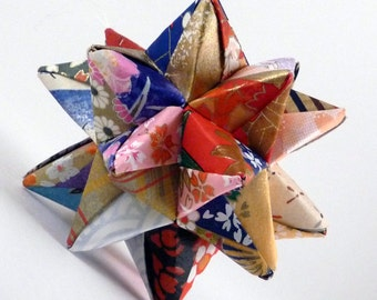 Origami Star, Quilted Star Ornament, Christmas Star, Origami Ornament, Primitive Star