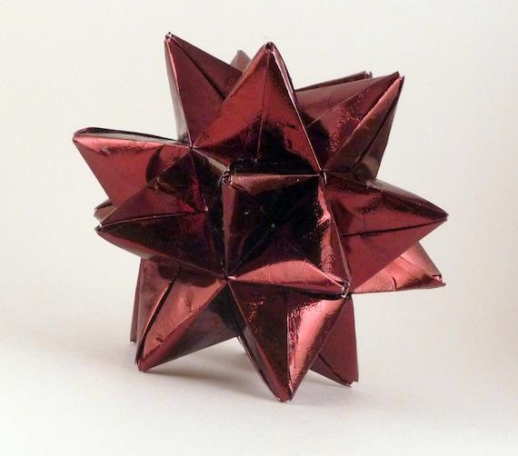 CLEARANCE - 50% OFF - Christmas Ornament, Origami Star, Paper Ornament, Burgundy Star Ornament, Dark Red Star, Origami Ornament