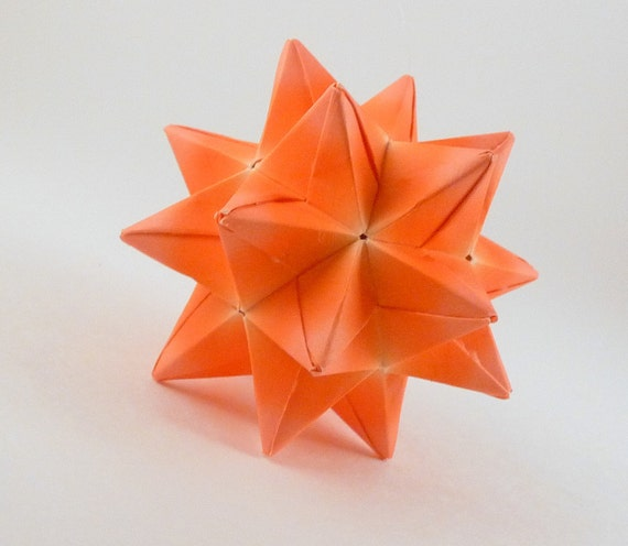 CLEARANCE - Orange Star Decoration, Christmas Ornament, Origami Star, Paper Ornament, Orange Star Ornament, Origami Ornament