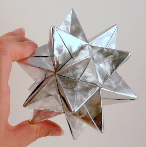 Medium Christmas Star, Christmas Ornament, Silver Star Ornament, Origami Star, Origami Ornament, Silver Foil Star