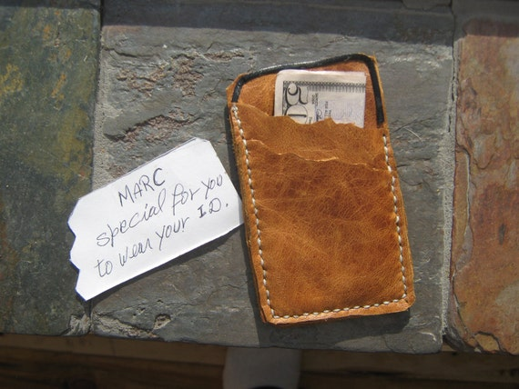 Leather credit card and money holder made in Haiti