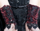 Inventor's Cuffs - Blood Red and Black Lace - Victorian Steampunk