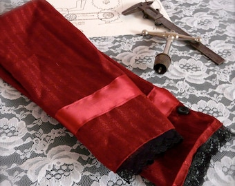 Countess' Cuffs - Maroon with Black Lace - Victorian Steampunk