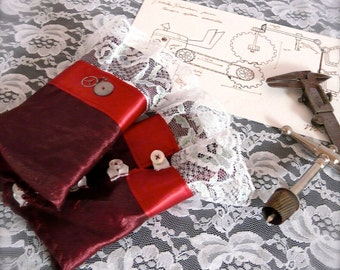 Inventor's Cuffs - Maroon with White Lace - Victorian Steampunk