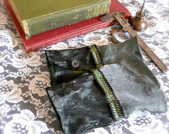 Inventor's Cuffs - Gray Green and Black Lace - Victorian Steampunk