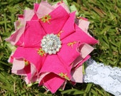 Hot Pink and Lime Green Dahlia Flower Headband or Hair Clip