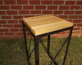 Butcher Block End Table