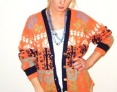 VINTAGE 70s Mackinaw Oversized Cardigan / Hand Knit / Womens size M/L / Peachy Orange
