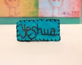 Handstitched Yeshua Turquoise Chocolate Brown and Black
