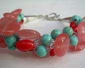 Watermelon Tourmaline, Coral and Turqoise Bracelet /Free Shipping