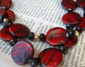 Black and Red Necklace /  Free Shipping