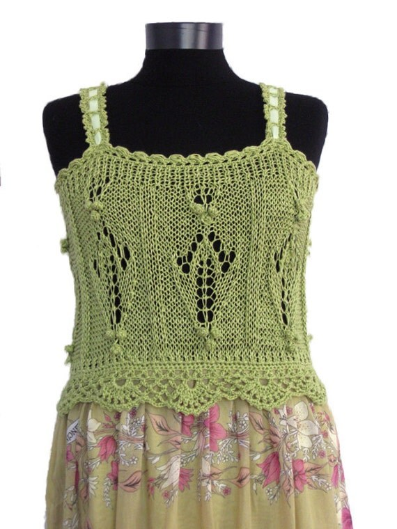 Green summer dress,crochet and fabric,Long maxi dress,cotton yarn