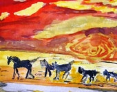 Horses running  watercolor print