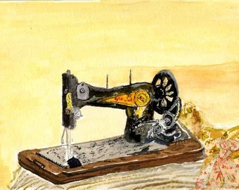 Vintage sewing  machine.    Watercolor. print..