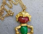 SALE 1.00 Vintage tribal dancer pendant necklace