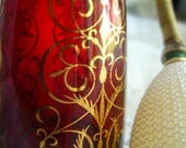 Vintage red glass and gold gilt perfume bottle signed Mikado