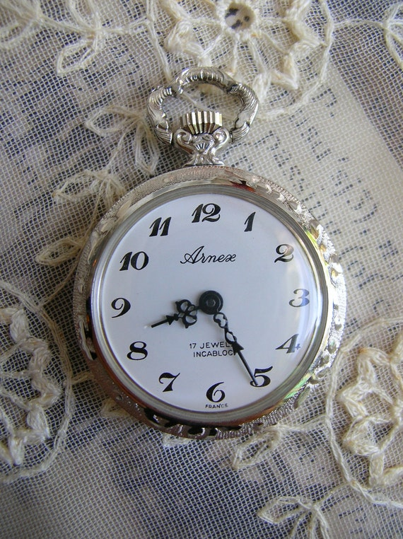 Vintage ladies French pocket watch Arnex 17 jewel ,France,Shabby Chic,pendant watch,silver tone,ornate
