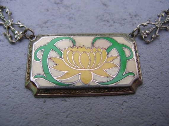 Art deco yellow enamel lotus silver tone necklace,vintage,antique