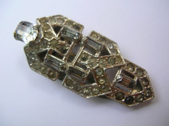 Vintage art deco rhinestone dress ,shoe,scarf clip